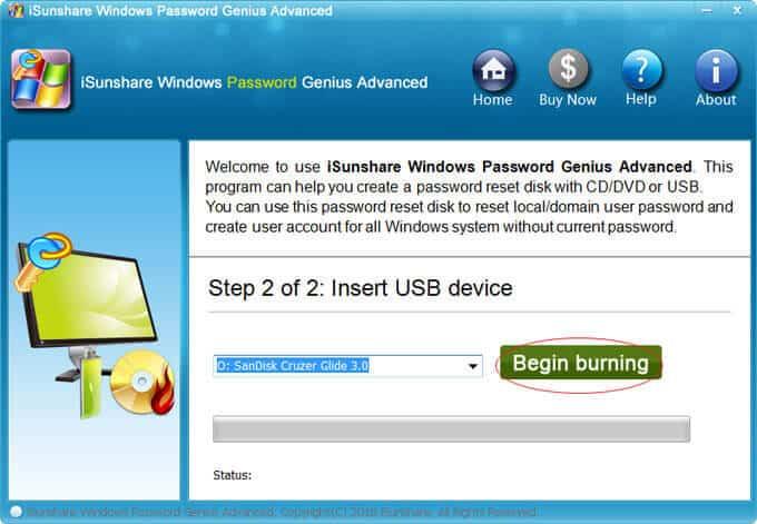 Begin Burning USB Password Reset Disc
