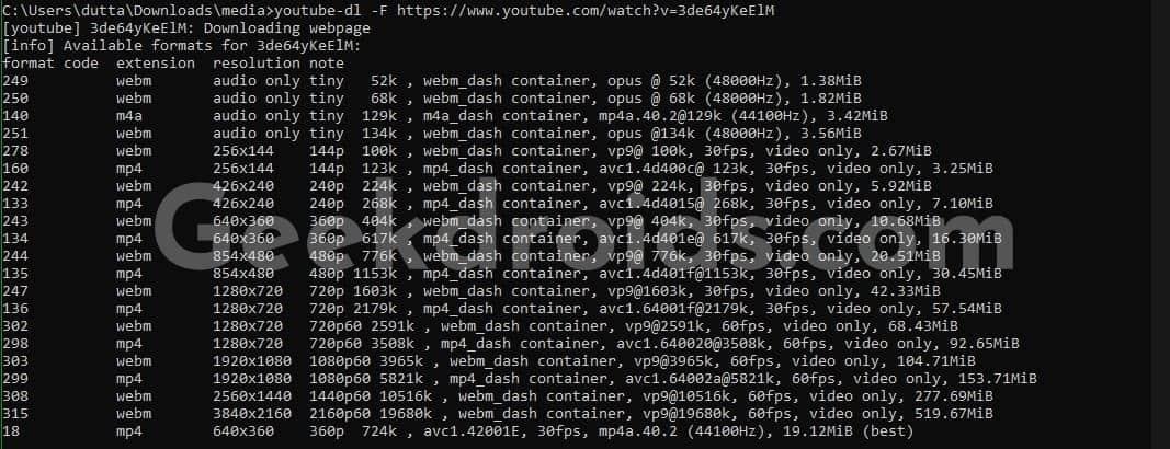 youtube_dl_format_list